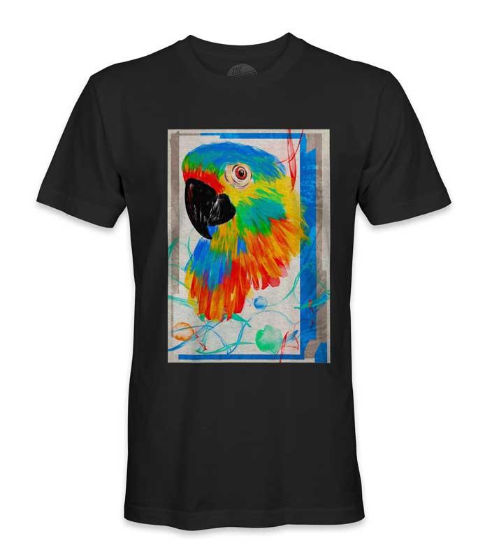 tee shirt perroquet multicolore imprimé
