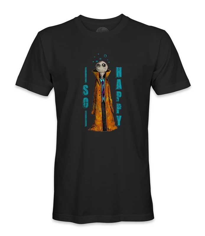 tee shirt imprimé humanoïde noir